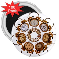 Time Clock Alarm Clock Time Of 3  Magnets (100 Pack)