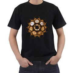 Time Clock Alarm Clock Time Of Men s T Shirt (black) (two Sided)