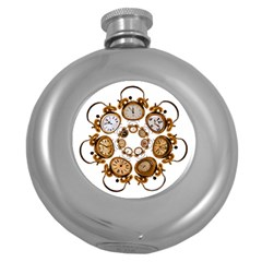Time Clock Alarm Clock Time Of Round Hip Flask (5 Oz)