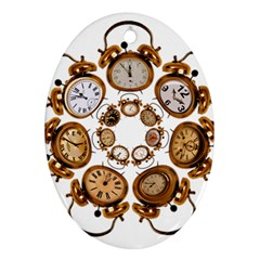 Time Clock Alarm Clock Time Of Oval Ornament (two Sides)