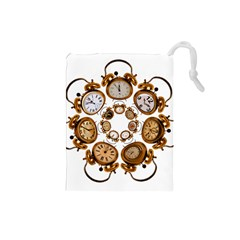 Time Clock Alarm Clock Time Of Drawstring Pouches (small)