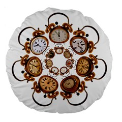 Time Clock Alarm Clock Time Of Large 18  Premium Flano Round Cushions