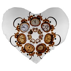 Time Clock Alarm Clock Time Of Large 19  Premium Flano Heart Shape Cushions