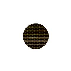Brick1 Black Marble & Gold Paint (r) 1  Mini Magnets