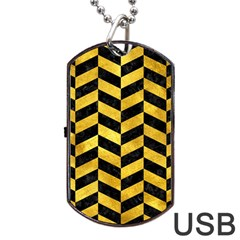 Chevron1 Black Marble & Gold Paint Dog Tag Usb Flash (two Sides)