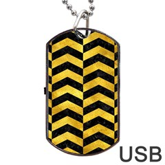 Chevron2 Black Marble & Gold Paint Dog Tag Usb Flash (two Sides)