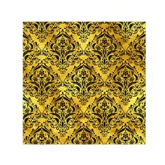 Damask1 Black Marble & Gold Paint Small Satin Scarf (square)