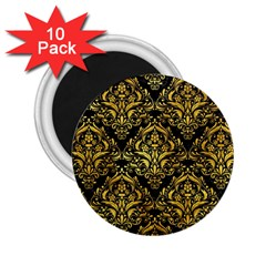 Damask1 Black Marble & Gold Paint (r) 2 25  Magnets (10 Pack)