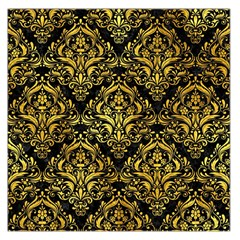 Damask1 Black Marble & Gold Paint (r) Large Satin Scarf (square)