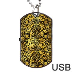 Damask2 Black Marble & Gold Paint Dog Tag Usb Flash (two Sides)