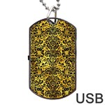 DAMASK2 BLACK MARBLE & GOLD PAINT Dog Tag USB Flash (Two Sides) Front