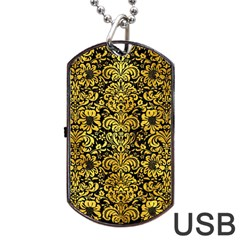 Damask2 Black Marble & Gold Paint (r) Dog Tag Usb Flash (two Sides)
