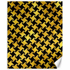 Houndstooth2 Black Marble & Gold Paint Canvas 16  X 20