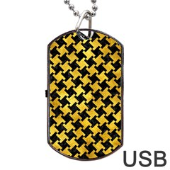 Houndstooth2 Black Marble & Gold Paint Dog Tag Usb Flash (two Sides)