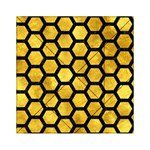 HEXAGON2 BLACK MARBLE & GOLD PAINT Acrylic Tangram Puzzle (6  x 6 ) Front