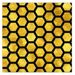 Hexagon2 Black Marble & Gold Paint Large Satin Scarf (square)