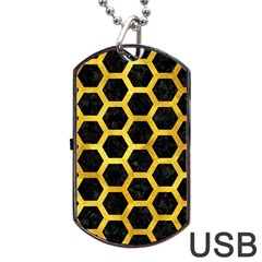 Hexagon2 Black Marble & Gold Paint (r) Dog Tag Usb Flash (two Sides)