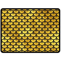 Scales3 Black Marble & Gold Paint Double Sided Fleece Blanket (large)
