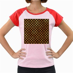 Scales3 Black Marble & Gold Paint (r) Women s Cap Sleeve T Shirt