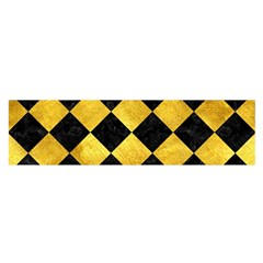 Square2 Black Marble & Gold Paint Satin Scarf (oblong)