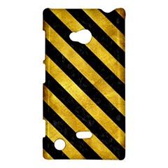 Stripes3 Black Marble & Gold Paint Nokia Lumia 720