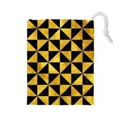 Triangle1 Black Marble & Gold Paint Drawstring Pouches (large)