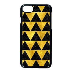 Triangle2 Black Marble & Gold Paint Apple Iphone 8 Seamless Case (black)