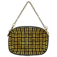 Woven1 Black Marble & Gold Paint (r) Chain Purses (one Side)