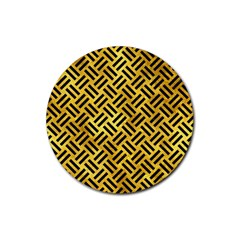 Woven2 Black Marble & Gold Paint Rubber Round Coaster (4 Pack)