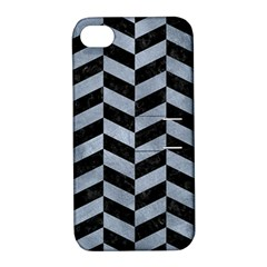 Chevron1 Black Marble & Silver Paint Apple Iphone 4/4s Hardshell Case With Stand