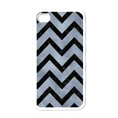 Chevron9 Black Marble & Silver Paint Apple Iphone 4 Case (white)