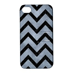 Chevron9 Black Marble & Silver Paint Apple Iphone 4/4s Hardshell Case With Stand