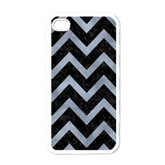 Chevron9 Black Marble & Silver Paint (r) Apple Iphone 4 Case (white)