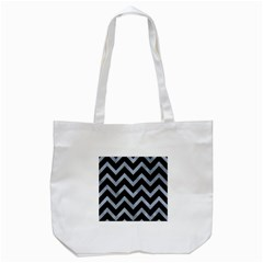 Chevron9 Black Marble & Silver Paint (r) Tote Bag (white)