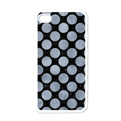Circles2 Black Marble & Silver Paint (r) Apple Iphone 4 Case (white)