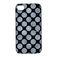 Circles2 Black Marble & Silver Paint (r) Apple Iphone 4/4s Hardshell Case With Stand