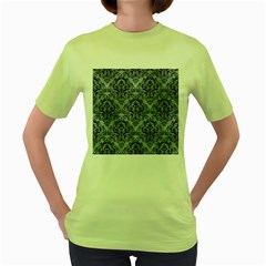 Damask1 Black Marble & Silver Paint Women s Green T Shirt