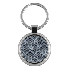 Damask1 Black Marble & Silver Paint Key Chains (round)