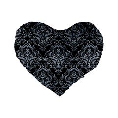 Damask1 Black Marble & Silver Paint (r) Standard 16  Premium Heart Shape Cushions