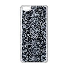 Damask2 Black Marble & Silver Paint (r) Apple Iphone 5c Seamless Case (white)