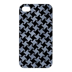 Houndstooth2 Black Marble & Silver Paint Apple Iphone 4/4s Hardshell Case