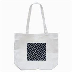 Houndstooth2 Black Marble & Silver Paint Tote Bag (white)