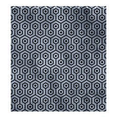 Hexagon1 Black Marble & Silver Paint Shower Curtain 66  X 72  (large)