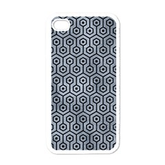 Hexagon1 Black Marble & Silver Paint Apple Iphone 4 Case (white)