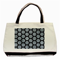 Hexagon2 Black Marble & Silver Paint Basic Tote Bag (two Sides)