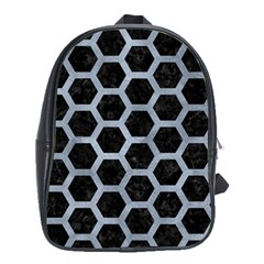 Hexagon2 Black Marble & Silver Paint (r) School Bag (large)