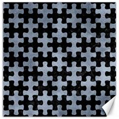 Puzzle1 Black Marble & Silver Paint Canvas 20  X 20