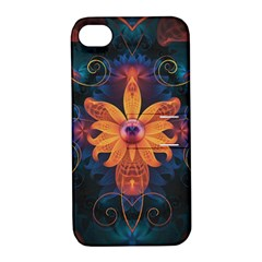 Beautiful Fiery Orange & Blue Fractal Orchid Flower Apple Iphone 4/4s Hardshell Case With Stand