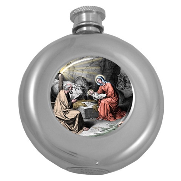 The birth of Christ Round Hip Flask (5 oz)