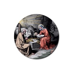 The Birth Of Christ Rubber Round Coaster (4 Pack)